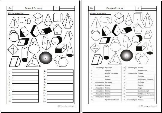 mathematik geometrie arbeitsblatt prisma zylinder k rper 8500 bungen arbeitsbl tter. Black Bedroom Furniture Sets. Home Design Ideas